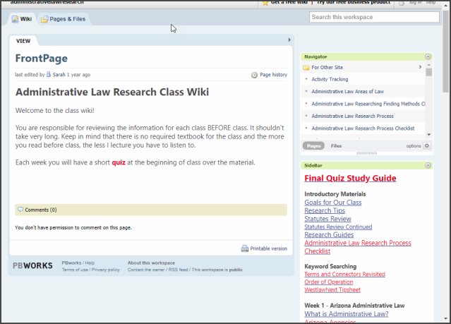 Administrative Law Research Class Wiki